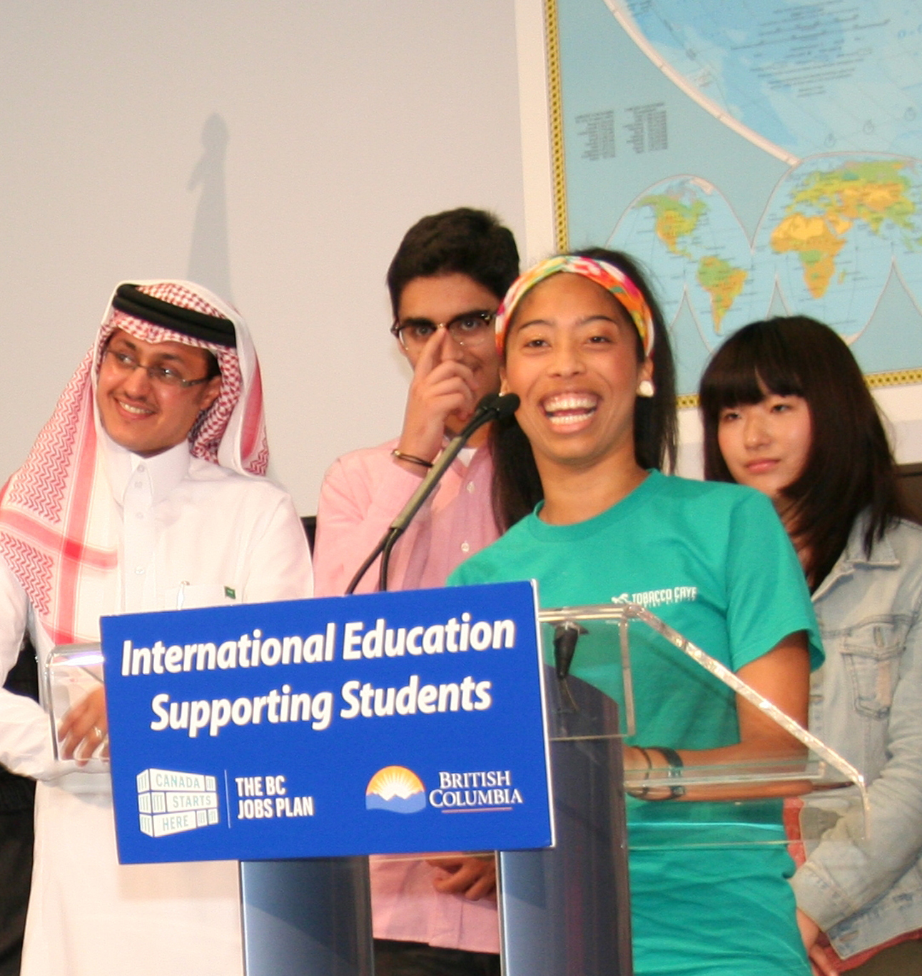 Vancouver Island University student Angeline de Bruyns, a recipient of a One World international scholarship,  speaks at the launch of the International Education Stragegy during which an additional $2 million was announced for the international scholarship program.