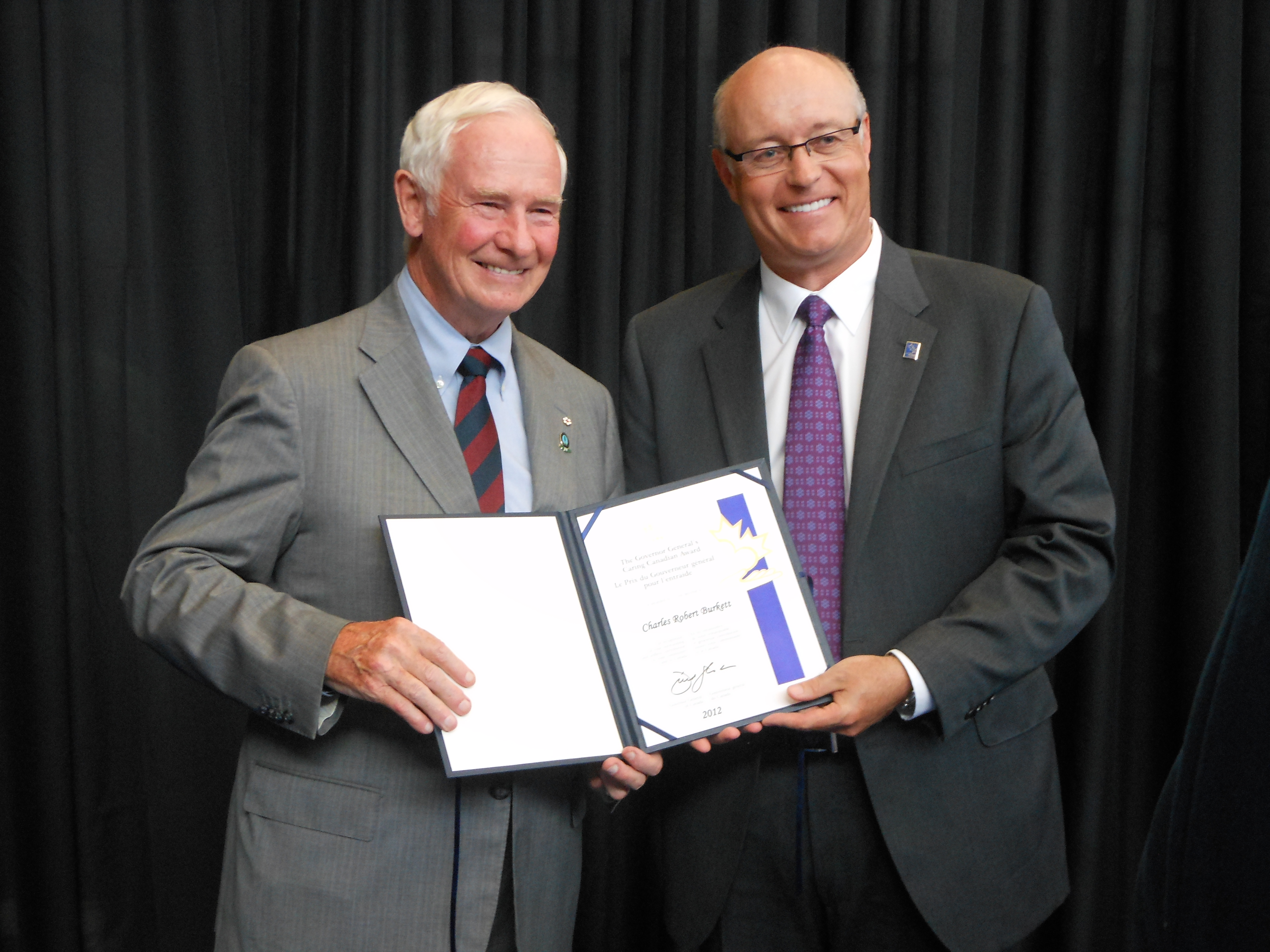 Chuck Burkett, Chair of the foundation's Honorary Governors and a former Chair of the Victoria Foundation's Board of Directors, with His Excellency The Right Honorable David Johnston.