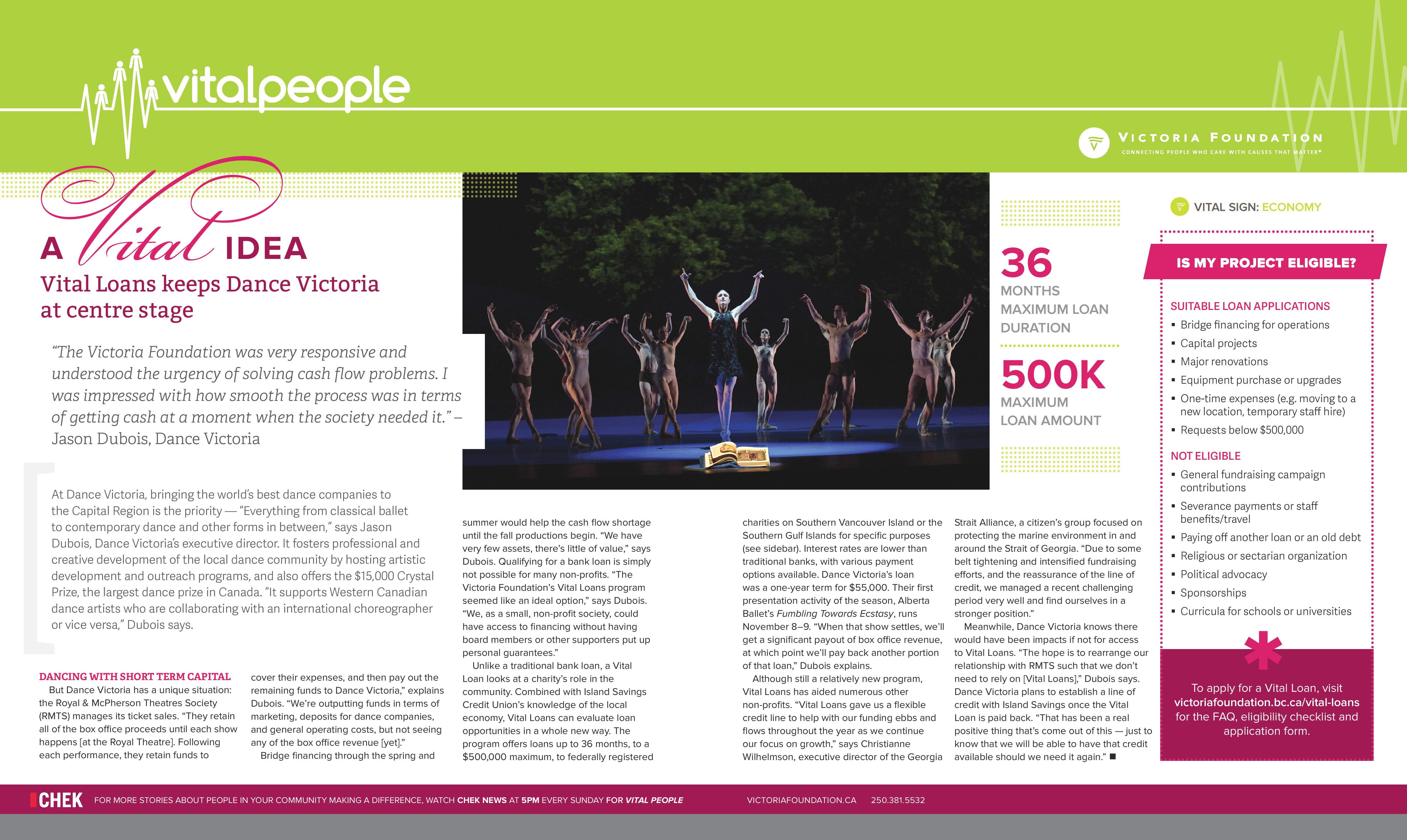 Vital People in Print: Dance Victoria and Vital Loans