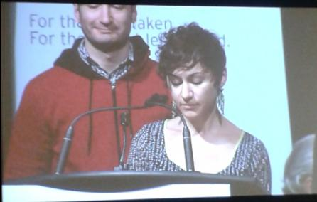 Jessica Bolduc, 4Rs Coordinator, presenting at the TRC hearings