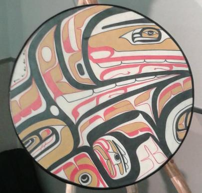 Drum made by BC artist Mike Dangeli for 4Rs as an offering of reconciliation at the TRC hearings