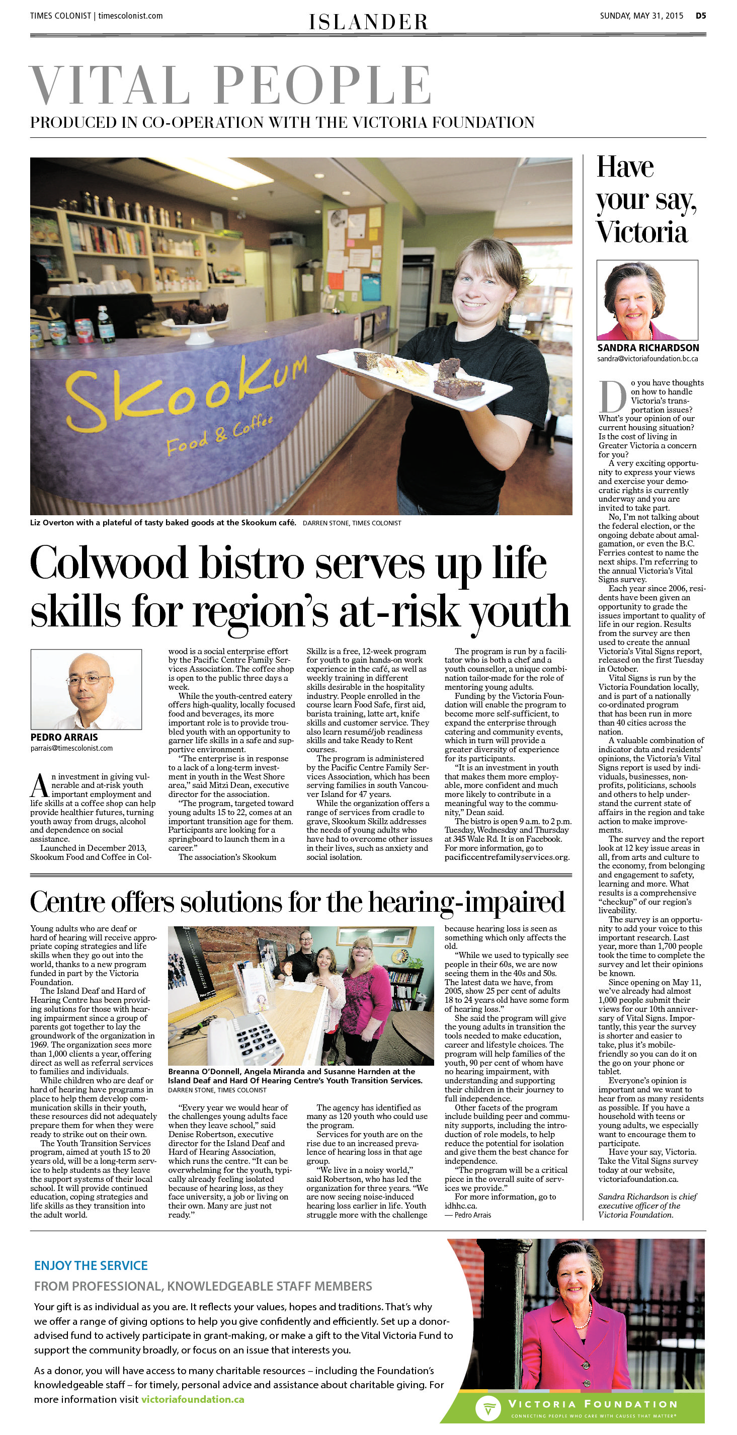 Times Colonist Vital People May 31, 2015